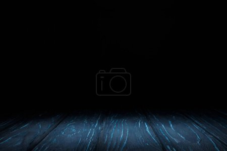 dark blue striped wooden tabletop on black