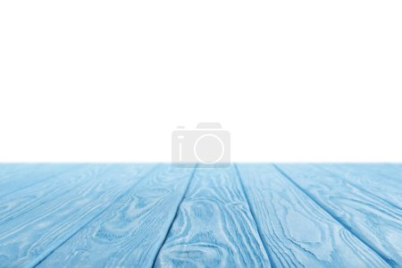 Photo for Blue striped wooden surface on white - Royalty Free Image