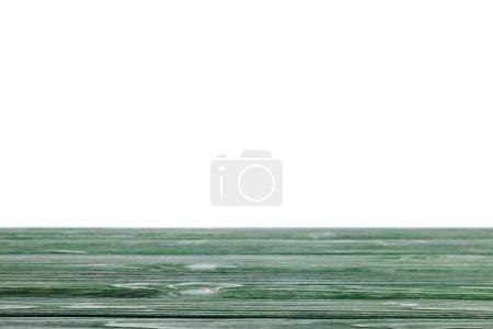 dunkelgrün gestreifte Holztischplatte auf weiß