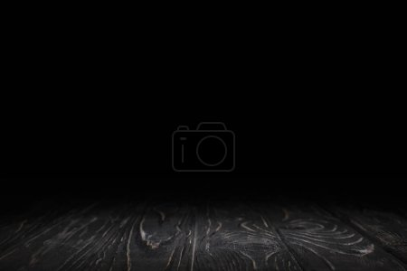 Photo for Dark grey striped wooden background on black - Royalty Free Image