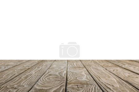 Photo for Brown striped rustic wooden background on white - Royalty Free Image