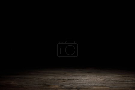 Photo for Grey striped wooden material on black - Royalty Free Image