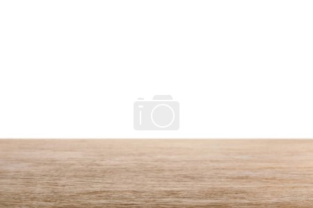 Photo for Brown striped wooden tabletop on white - Royalty Free Image