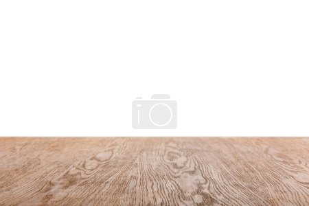 Photo for Brown striped wooden background on white - Royalty Free Image
