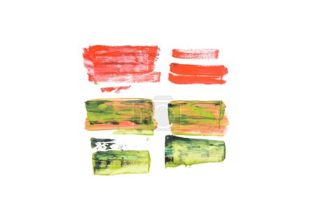 Abstract watercolor pink, green and red brushstrokes isolated on white
