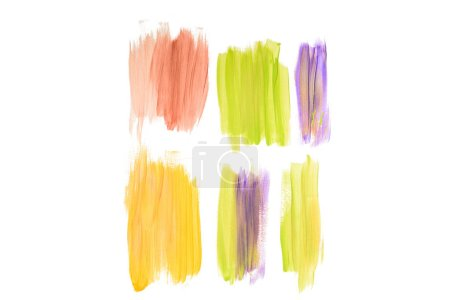 Abstract watercolor coral, golden, purple and green brushstrokes isolated on white