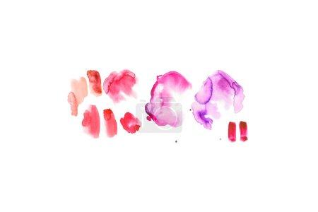 Foto de Abstractos acuarela pinceladas color de rosa, púrpura y rojos aislados en blanco - Imagen libre de derechos