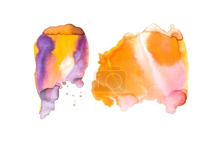 Abstract watercolor stains isolated on white with copy space