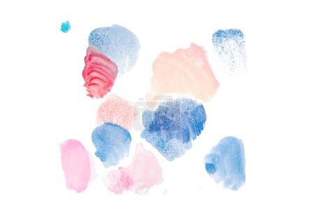 Foto de Abstractos acuarela derrames rosa, azules y rojos aislados en blanco - Imagen libre de derechos