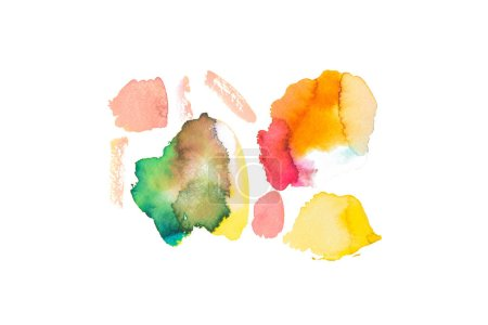 Set of abstract colorful spills isolated on white with copy space