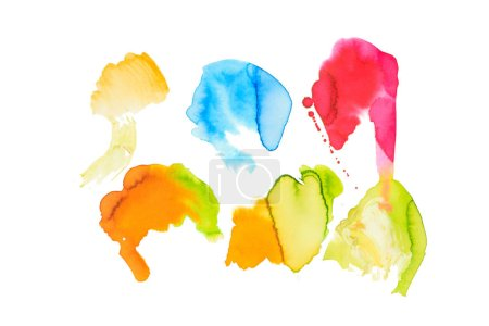 Set of abstract blue, pink, yellow and golden spills isolated on white