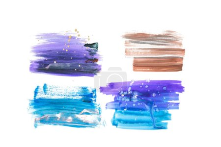 Set of abstract blue, purple and brown brushstrokes isolated on white