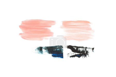 Set of abstract pink, beige, blue and black brushstrokes isolated on white