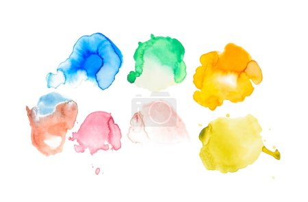 Abstract watercolor yellow, green, blue, coral, golden and purple spills isolated on white
