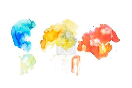 Foto de Conjunto de Resumen derrames azul, oro, marrón y coral aislado en blanco - Imagen libre de derechos