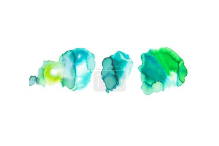 abstract watercolor blue and green spills isolated on white
