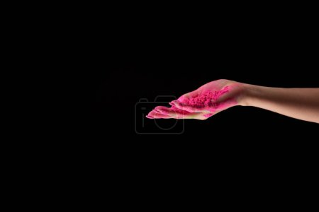 cropped view of adult woman with pink holi powder isolated on black