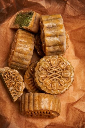close up of delicious baked traditional chinese mooncakes