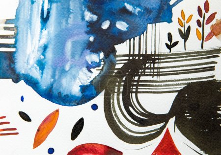 Foto de Vista superior de cuadro acuarela multicolor abstracto - Imagen libre de derechos