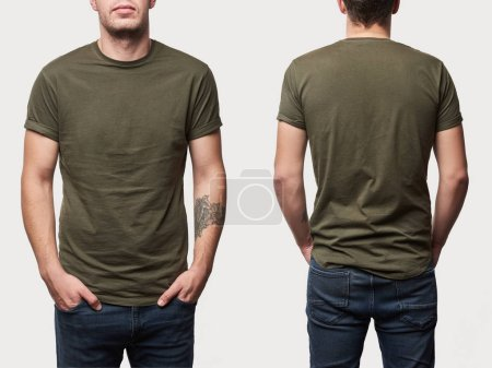Photo for Cropped view of tattooed man in basic khaki t-shirt with copy space isolated on white - Royalty Free Image