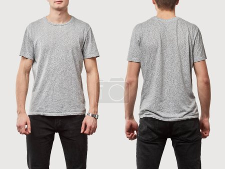 Photo for Collage of man in grey t-shirt with copy space isolated on white - Royalty Free Image
