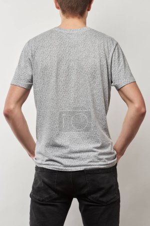Photo for Back view of man in cotton t-shirt with copy space isolated on grey - Royalty Free Image