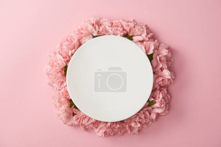 Foto de Vista superior de la placa redonda blanco y flores rosa aisladas sobre fondo rosa - Imagen libre de derechos