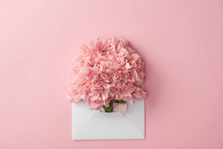Photo for Beautiful pink carnation flowers and white envelope isolated on pink - Royalty Free Image