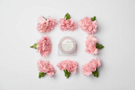 Photo for Flat lay of carnations flowers in square arranging and cream container on white background - Royalty Free Image