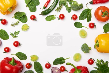 Photo for Flat lay with organic vegetables on white background - Royalty Free Image