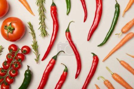 Foto de Plana se pone con verduras y Romero sobre fondo gris - Imagen libre de derechos