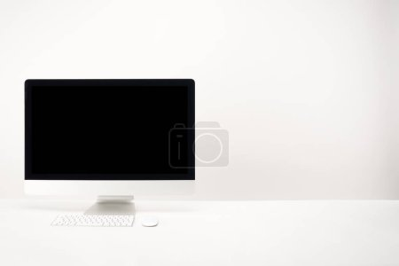 Photo for Workplace with desktop computer isolated on white with copy space - Royalty Free Image