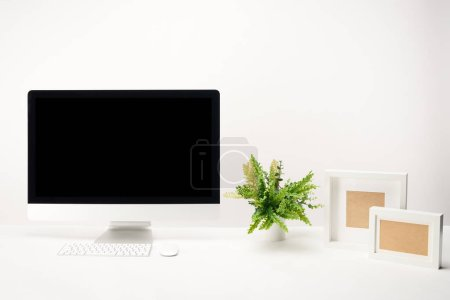 workplace with plant, photo frames and desktop computer with copy space isolated on white