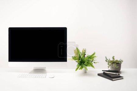 Foto de Trabajo con plantas verdes, portátiles y de escritorio con copia espacio, aislada sobre fondo blanco - Imagen libre de derechos