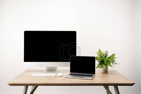 Photo for Workplace with plant, desktop computer and laptop with copy space isolated on white - Royalty Free Image