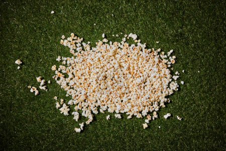 Photo for Top view of tasty popcorn lying on green grass - Royalty Free Image