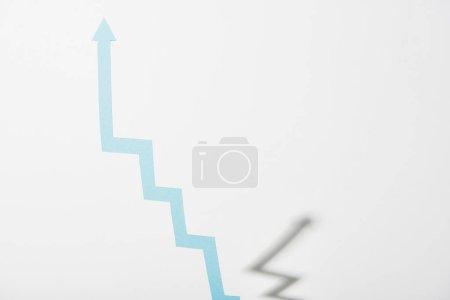 Photo for Upward paper blue arrow on white background - Royalty Free Image