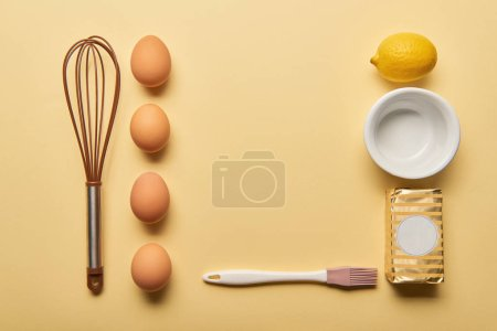Photo for Flat lay with cooking utensils and ingredients on yellow background - Royalty Free Image