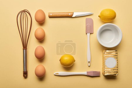 Photo for Flat lay with cooking utensils and raw ingredients on yellow background - Royalty Free Image