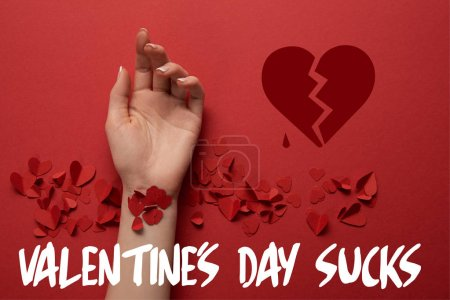 """cropped view of female hand with paper cut decorative hearts on red background with """"valentines day sucks"""" lettering"""