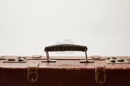 Photo for Lather brown suitcase with copy space isolated on grey - Royalty Free Image