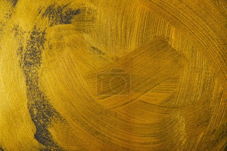 Photo for Different golden brushstrokes on dark textured background - Royalty Free Image