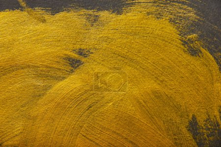 Photo for Different brushstrokes of golden paint on grey background - Royalty Free Image