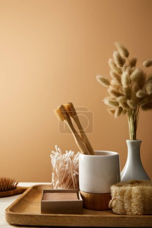 Photo pour Wooden tray with vase of spikelets and different hygiene and care items isolated on brown, zero waste concept - image libre de droit