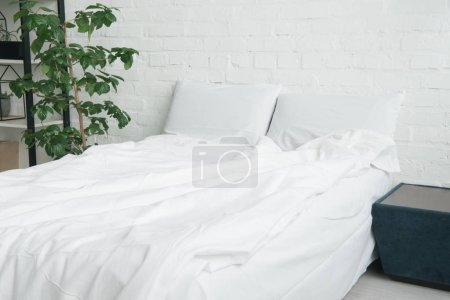Photo pour Lit avec couverture blanche et oreillers, plante et table de chevet noire - image libre de droit