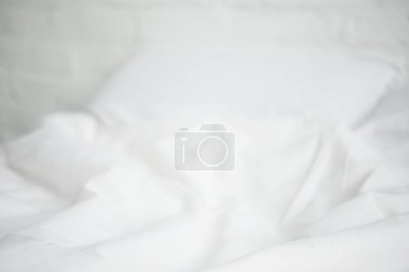 Photo for Selective focus of white empty bed and pillow - Royalty Free Image