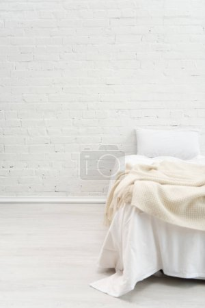 Photo for Bedroom with pillow on empty bed with copy space - Royalty Free Image