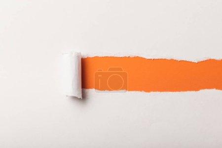 Foto de Papel blanco roto, con borde rodado sobre fondo naranja - Imagen libre de derechos