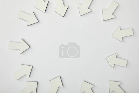 Photo for Top view of circle with white pointers on grey background - Royalty Free Image