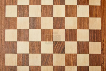 Photo for Top view of empty wooden chess board - Royalty Free Image